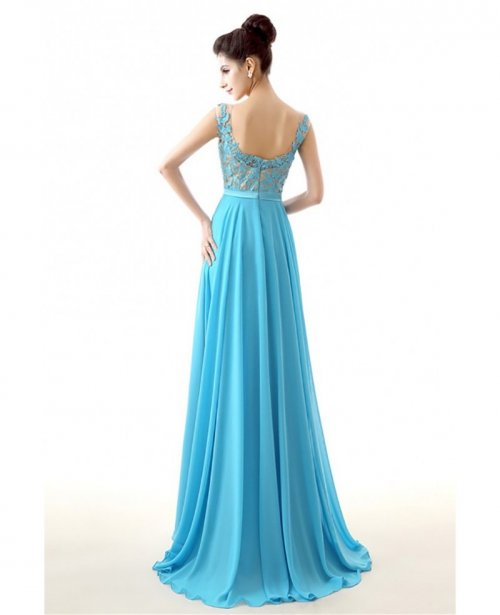 2018 Aqua Chiffon Prom Dress A Line Long With Lace Bodice|bd28671 ...