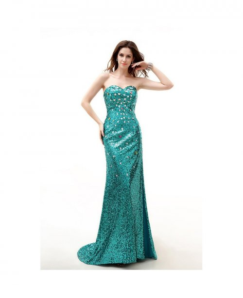 Jade Sweetheart Sparkly Long Train Split Front Prom Dress with ...