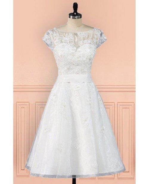 Vintage Knee Length Lace A Line Short Wedding Dress Modest Cap ...