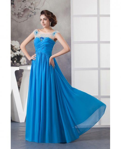 c48bc0e5a3 Chiffon Blue Scoop Neck Long Pleated Prom Dress With Sheer Beading ...