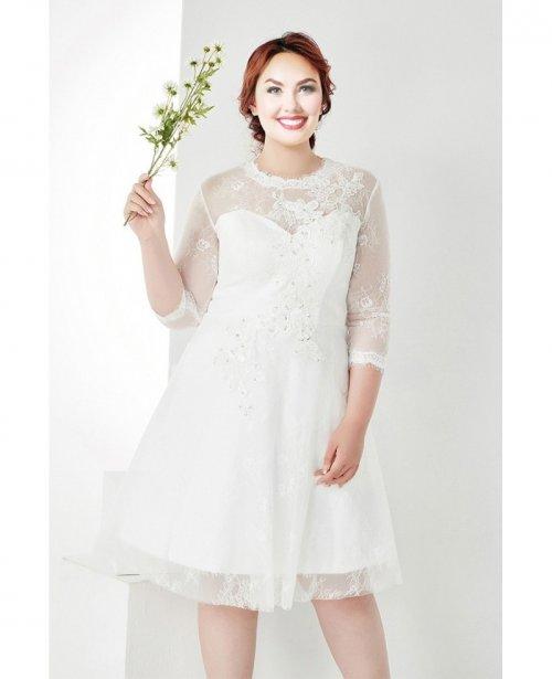 Modest Plus Size White Lace 34 Sleeves Short Wedding Dresswd24386