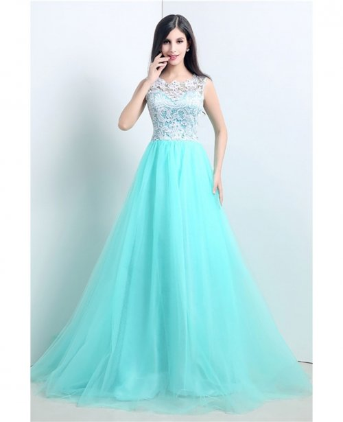 a9141b35f74 Graceful Ballroom Aqua Prom Dress Long With White Lace Bodice ...