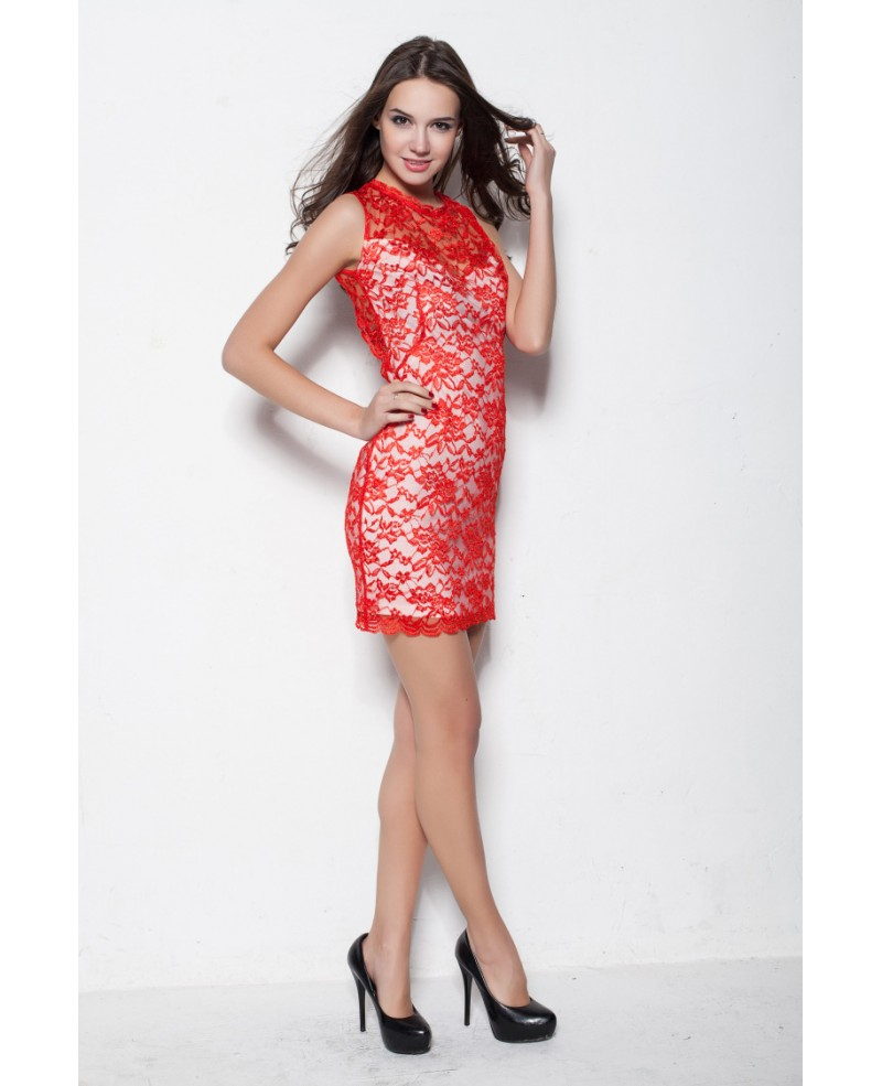3a2e9882289 Sexy Hot Red Lace Cocktail Tight Dresses
