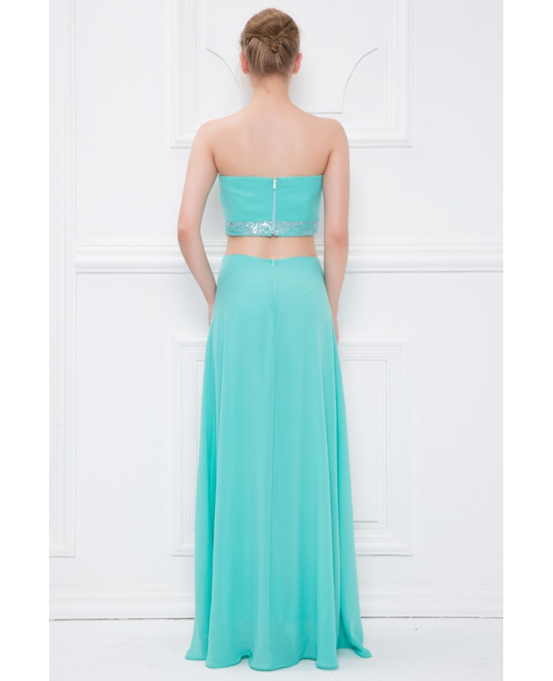 Mint Green Stylish Strapless Chiffon Long Prom Dress With Beading