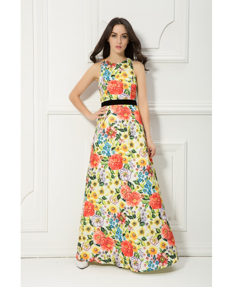 Summer High Waist Floral Print Chiffon Long Wedding Guest Dress