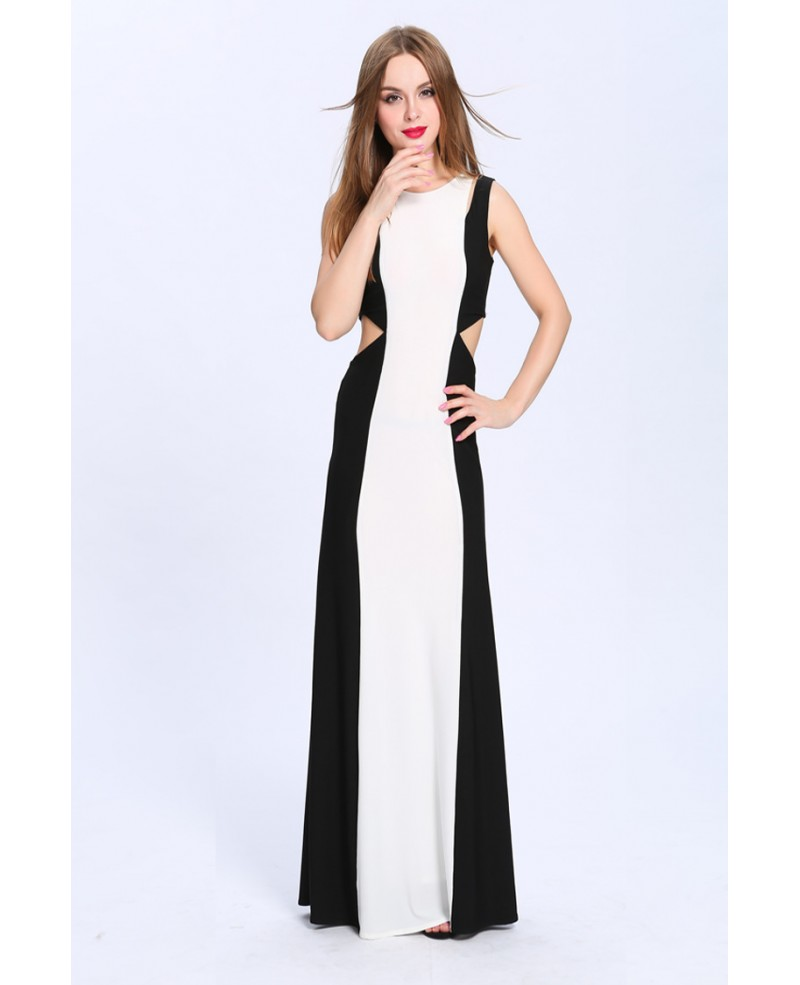 Chic Sheath Black and White Long Evening Dress