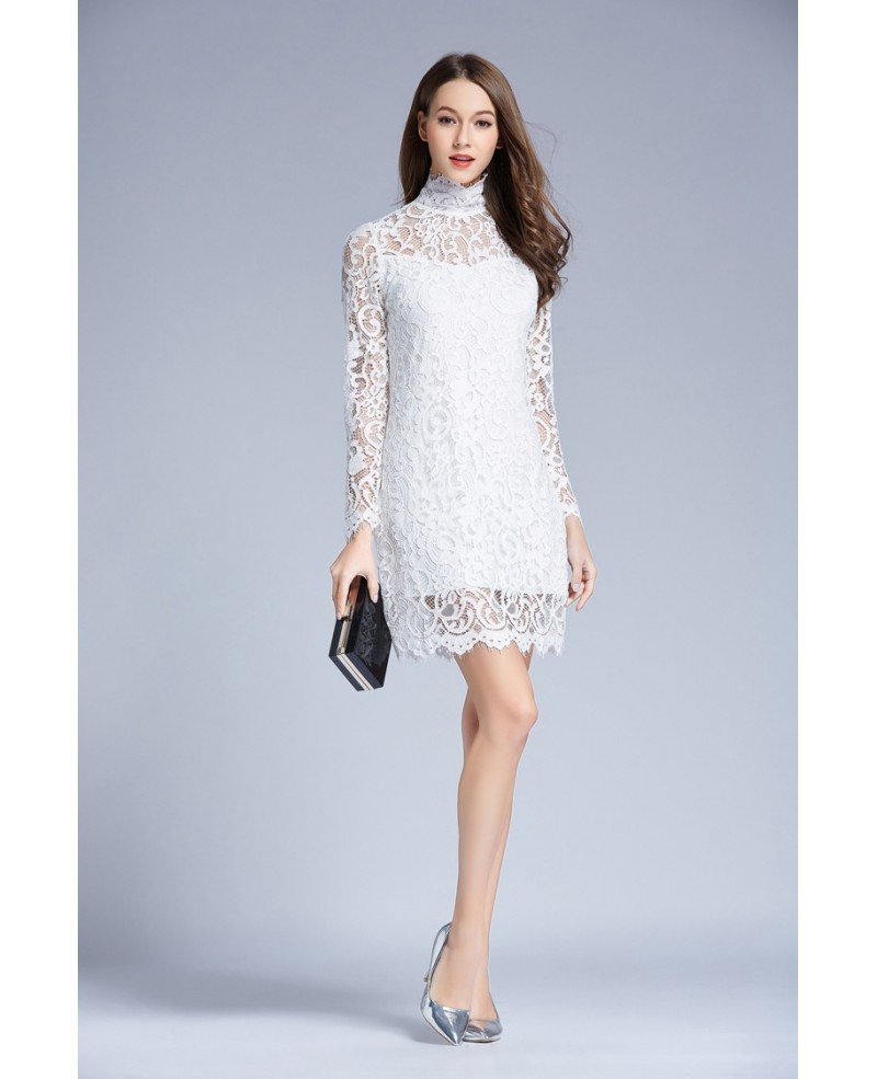Chic High Neck White Lace Short Weddding Guest Dress With Long Sleeves
