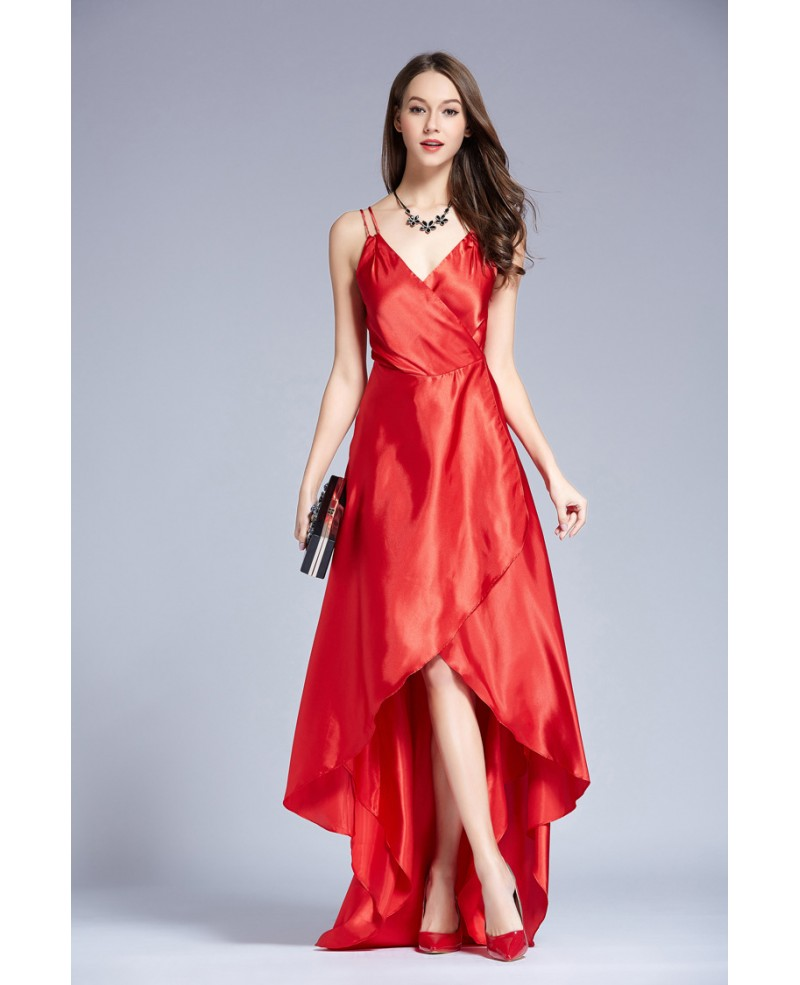 Red Edgy V-neck Asymmetrical Satin Evening Dress