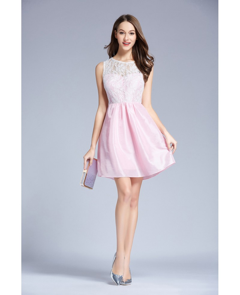 Pink Lovely Organza Lace Short Homecoming Dress With Ruffle