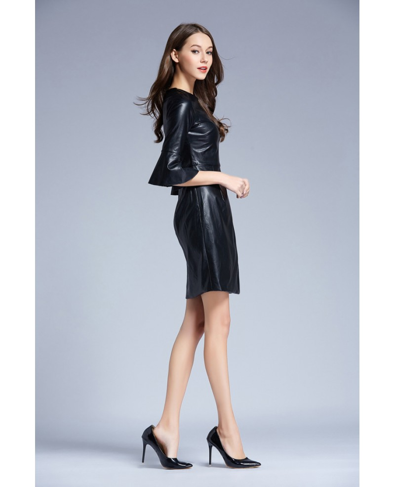 Chic A-Line Black Leather Weddding Guest Dress With Sleeves