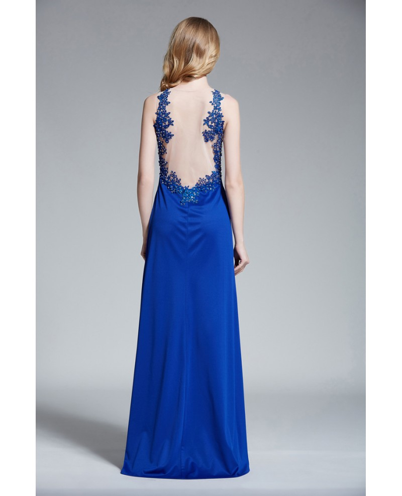 Elegant A-Line Long Evening Dress With Beading Appliques Lace