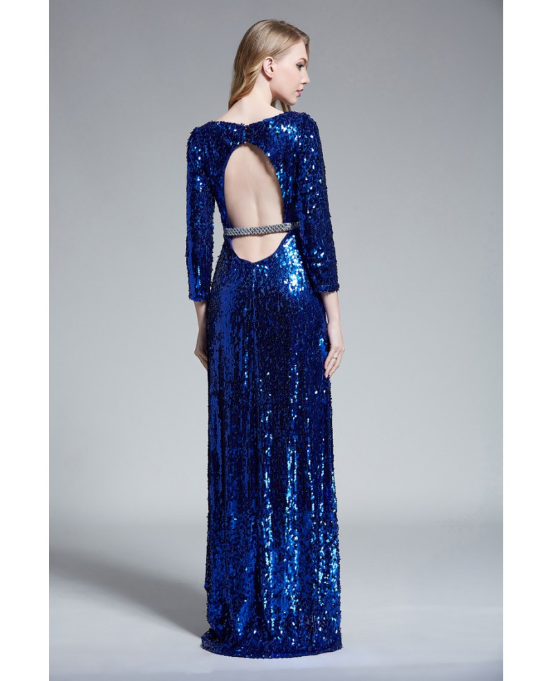 Sparkling A-Line Sequined Long Evening Dress With Open Back