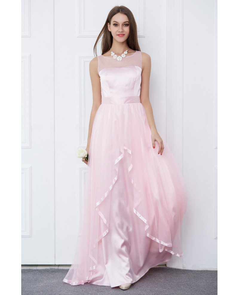 Candy Pink Feminine A-Line Satin Tulle Long Prom Dress With Ruffle