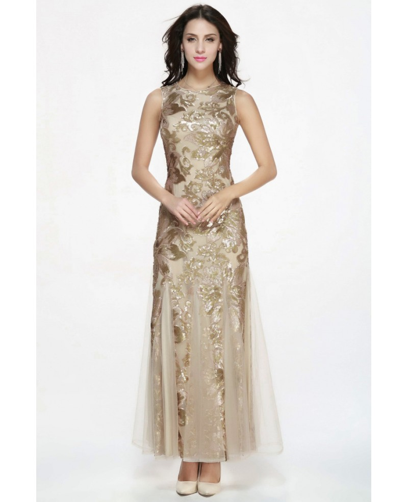 Mermaid Style Long Champagne Sequin Tulle Tight Dresses with High Neck