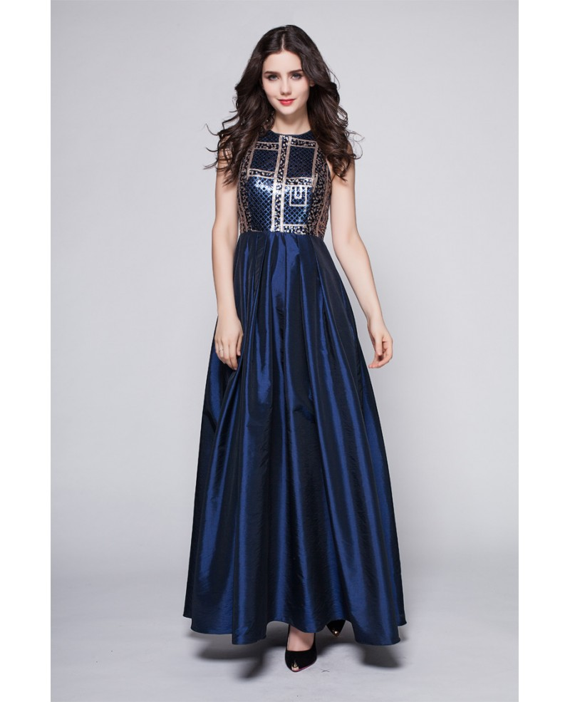 Elegant Taffeta Blue Exotic Sequined Long Formal Dress