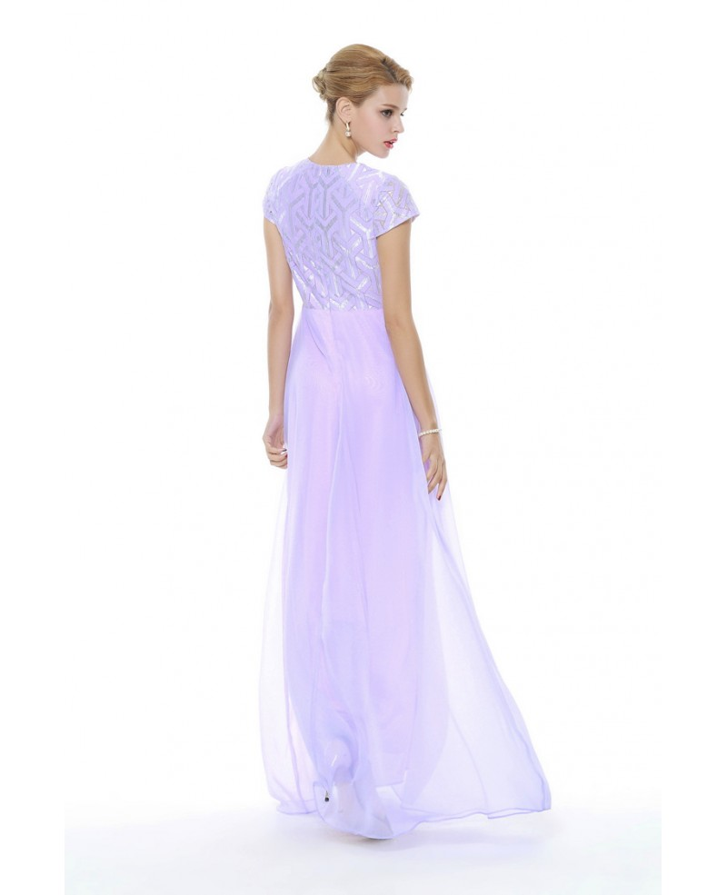 Lilac Chiffon Short Sleeved Homecoming Dress Long