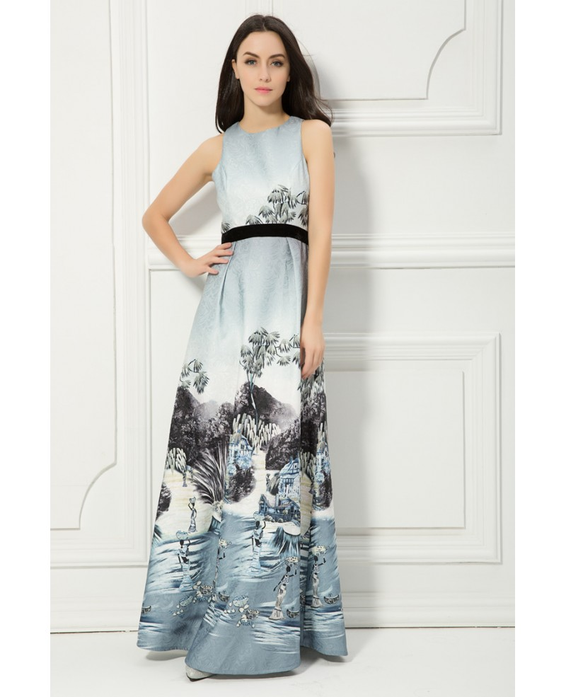 Chinese Style A-Line Printed Wedding Party Dress