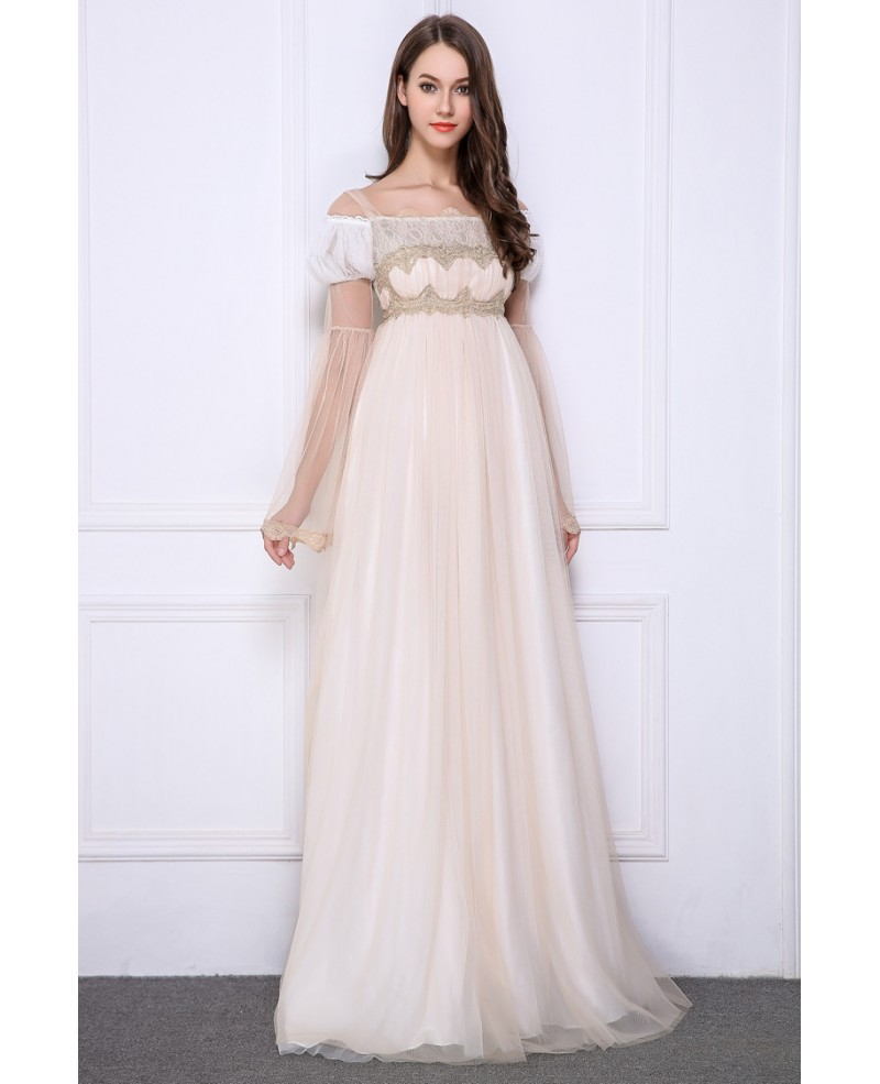 Feminine Empire Embroidered Tulle Floor-Length Prom Dress With Long Sleeves