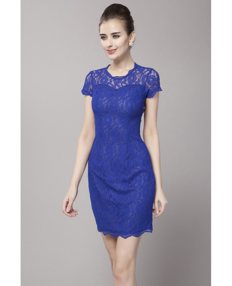 Body Fitted Little Short Dress Blue Lace Short Sleeves