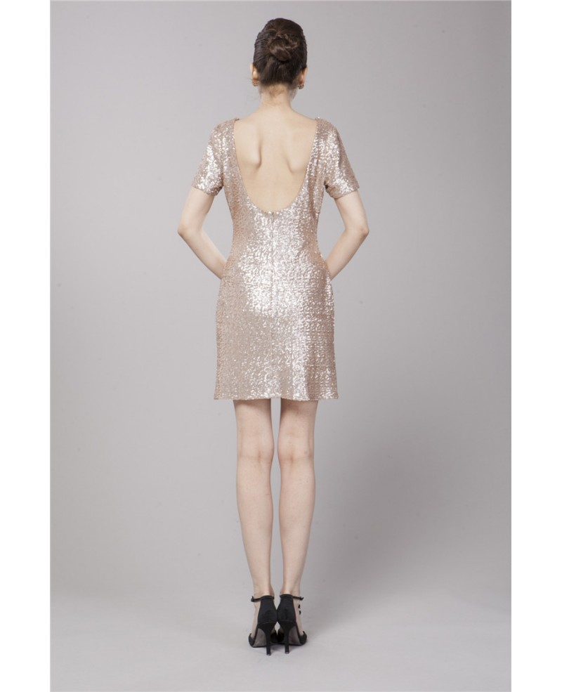 Sexy Sheath Sequined Dress With Short Sleeves
