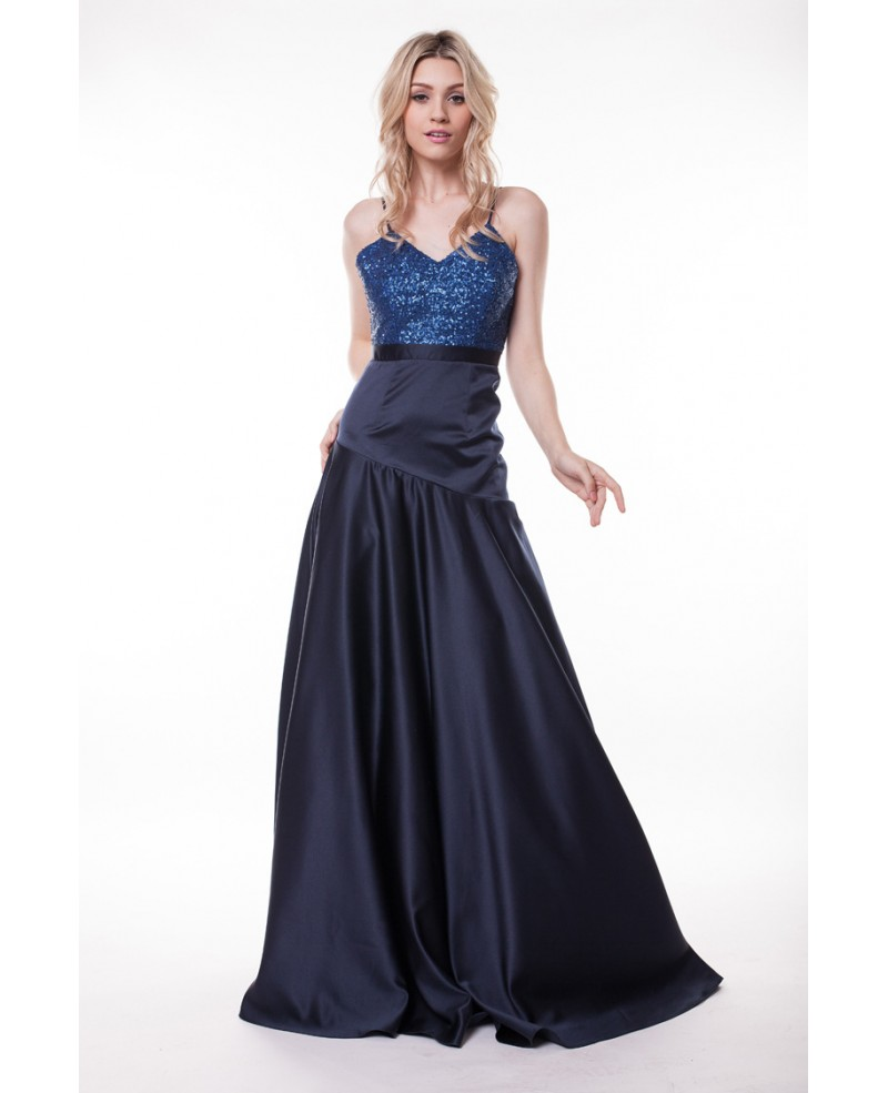 Sexy V-neck Sequined Satin Floor-Length Prom Dress With Open Back