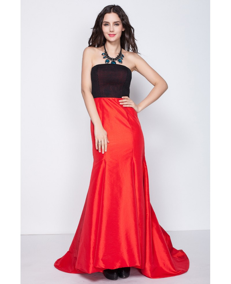 Black and Red Mermaid Style Strapless Dresses with Train