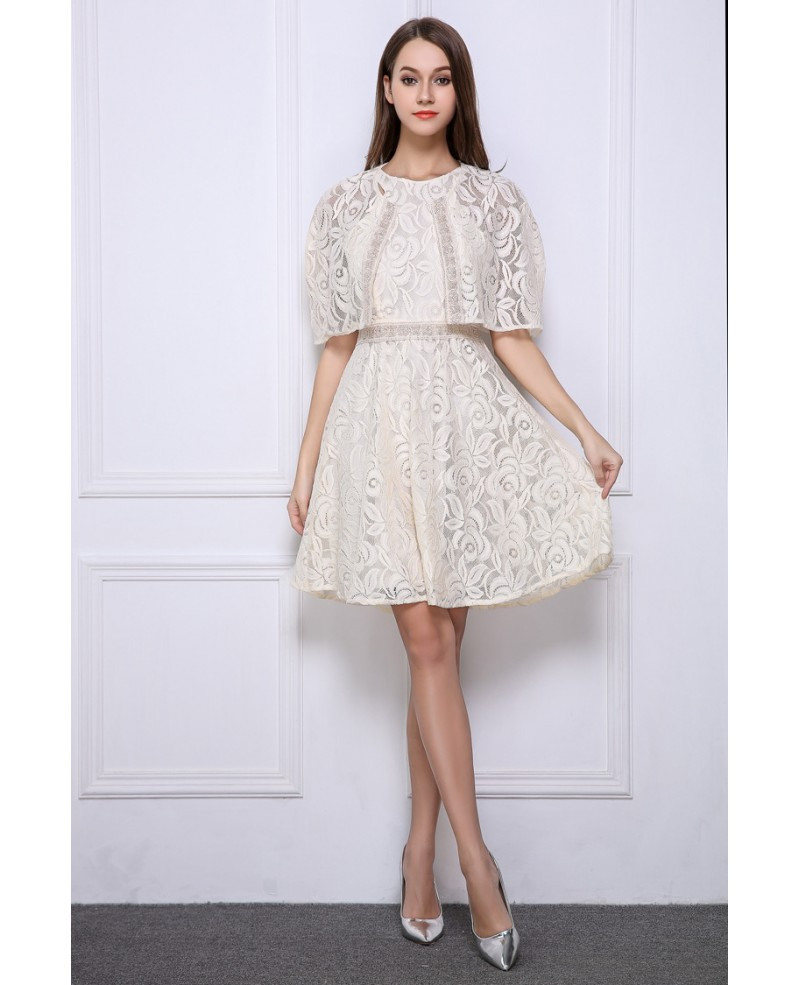 Stylish High Waist Lace Short Wedding Party Dress With Cape