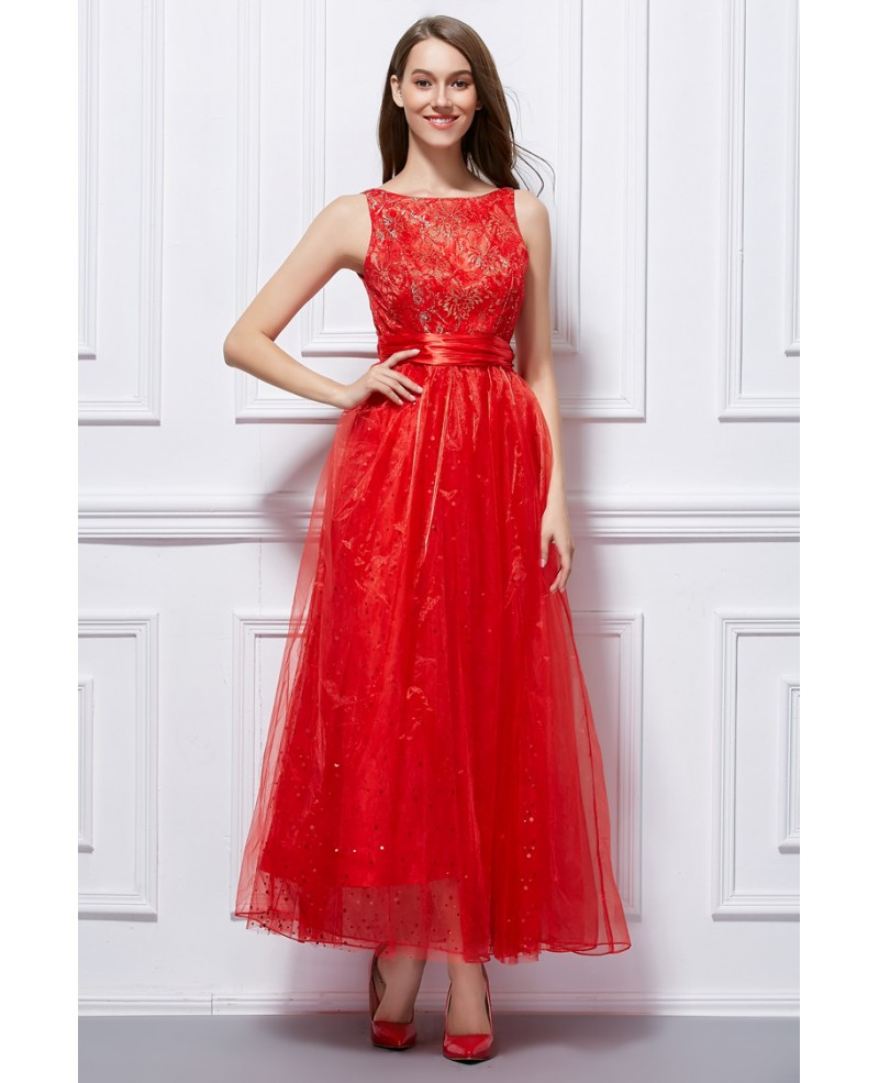 Stylish A-Line Lace Tulle Ankle-Length Prom Dress With Sequins