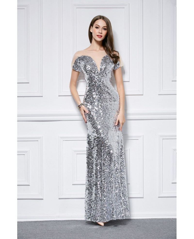 Chic Sheath Sequined Long Prom Dress With Short Sleeves