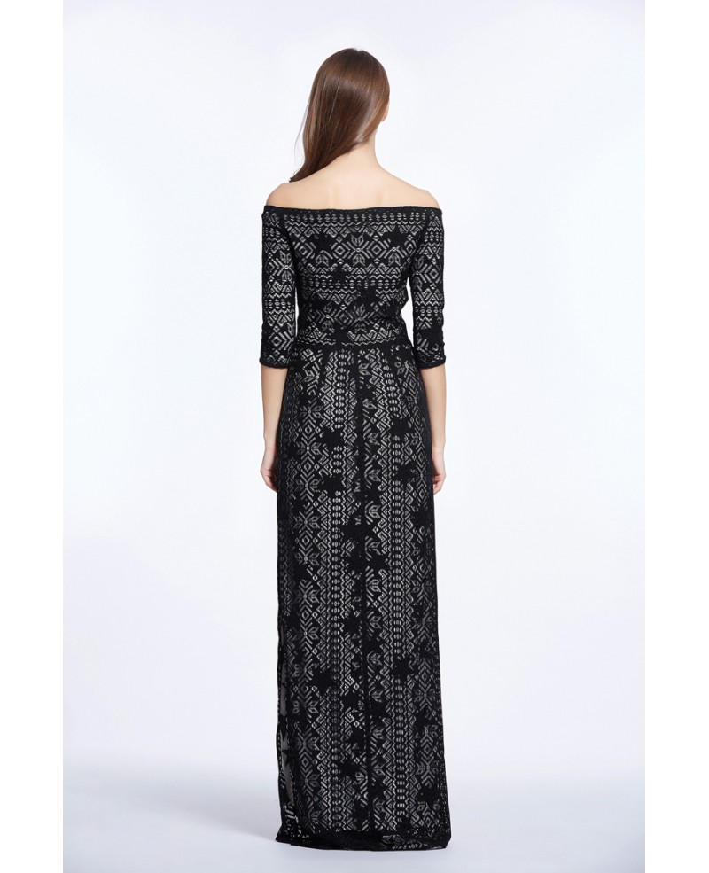 Elegant Off-the-Shoulder Embroidered Long Dress With Sleeves