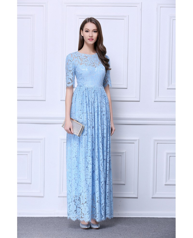 Feminine A-Line Lace Long Prom Dress With Short Sleeves