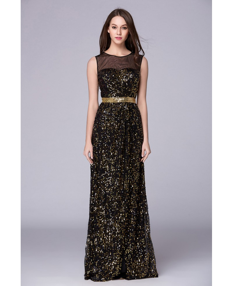 Sexy A-Line Sequined Long Prom Dress With Front Split