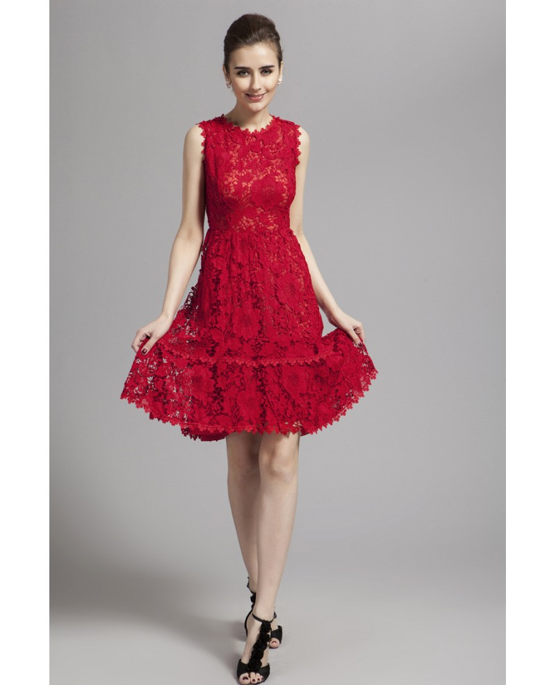 Delicate A-Lline Red Lace Knee-Length Formal Dress
