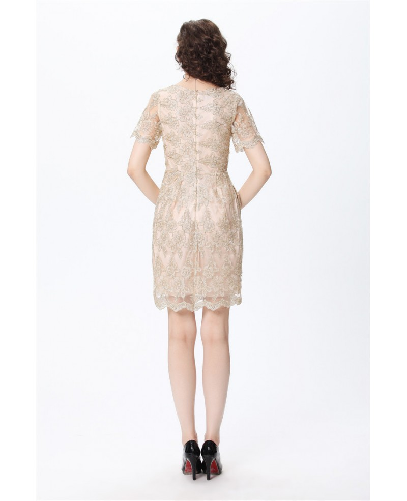 Full Lace Short Sleeved Vintage Champagne Cocktail Dress