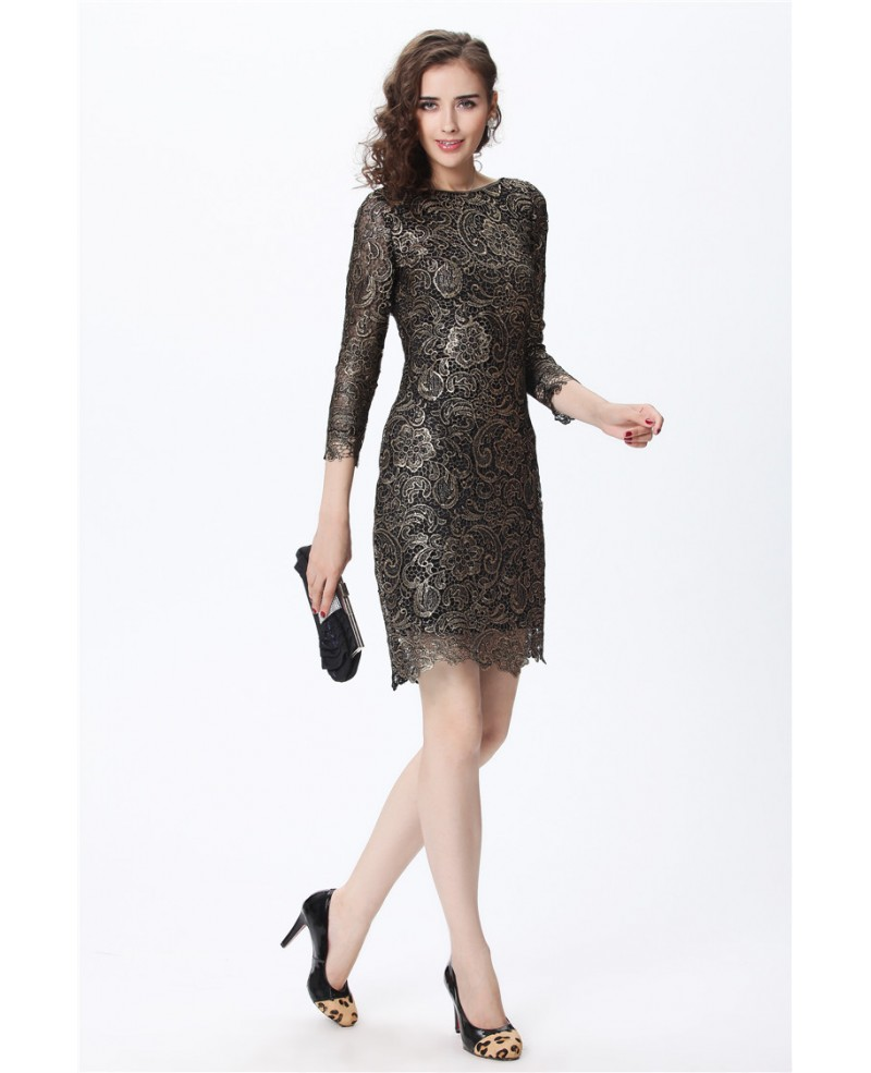 Luxe Black with Gold Lace 3/4 Sleeve Cocktail Dress