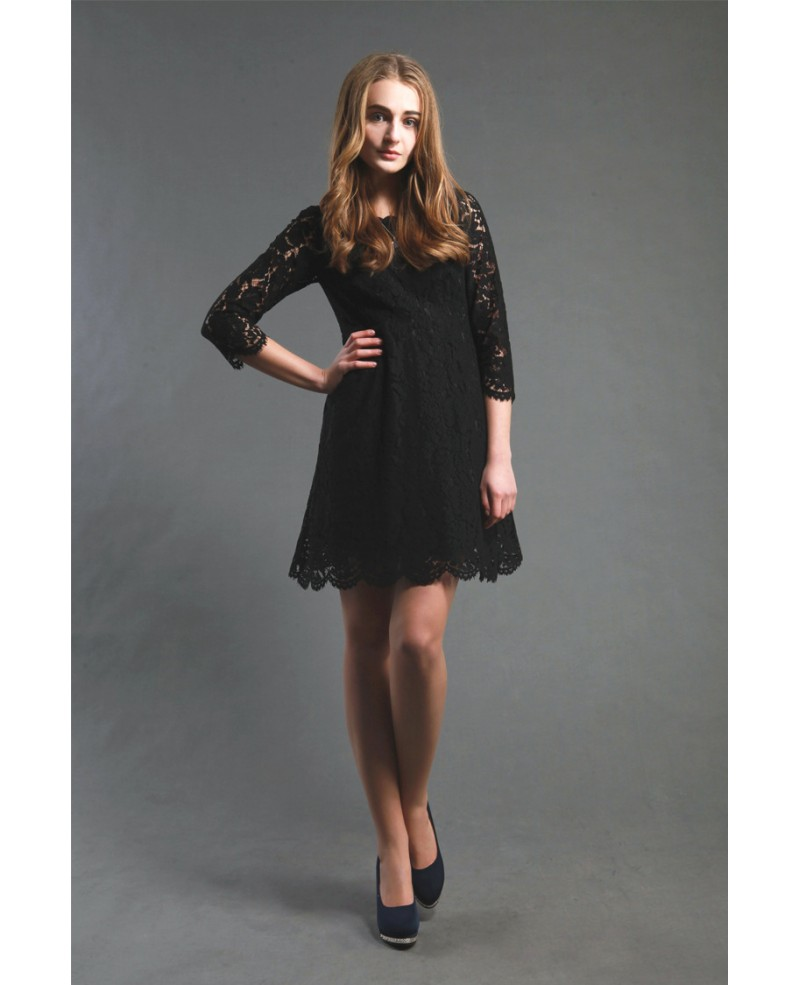 Little Black Lace Short Casual Party Dress With Sleeves