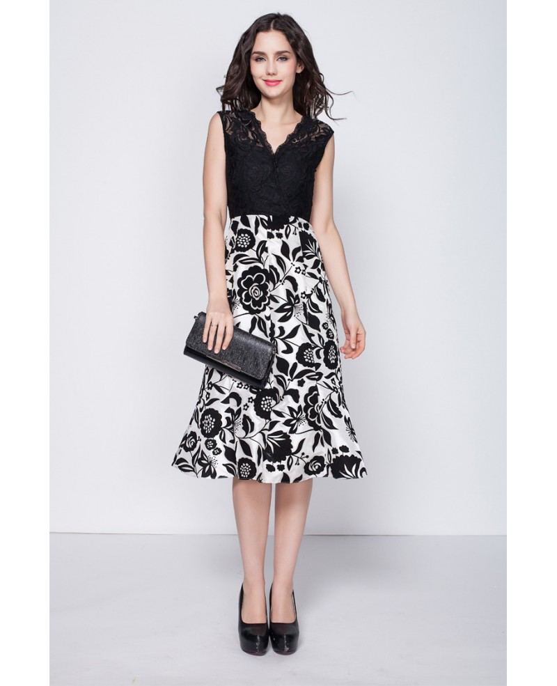 Trendy Black and White Lace Printed Dresses in Tea Length