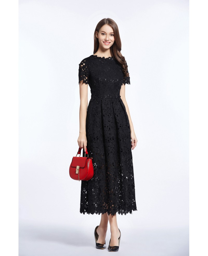 Vintage A-Line Lace Ankle Length Dress With Short Sleeves