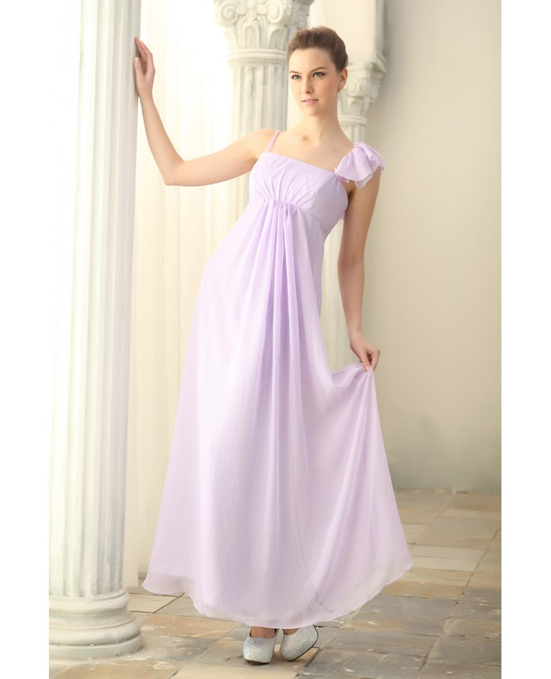 A-lin Strapless Chiffon Ankle-length Bridesmaid Dress