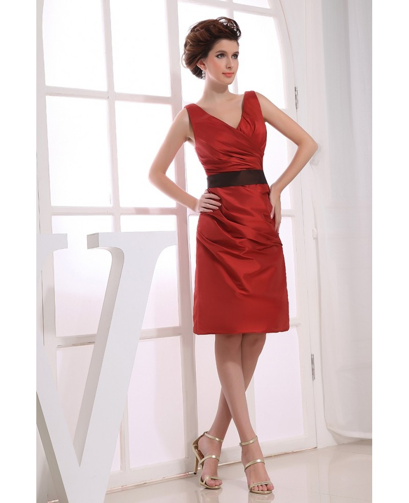A-line V-neck Knee-length Satin Cocktail Dress