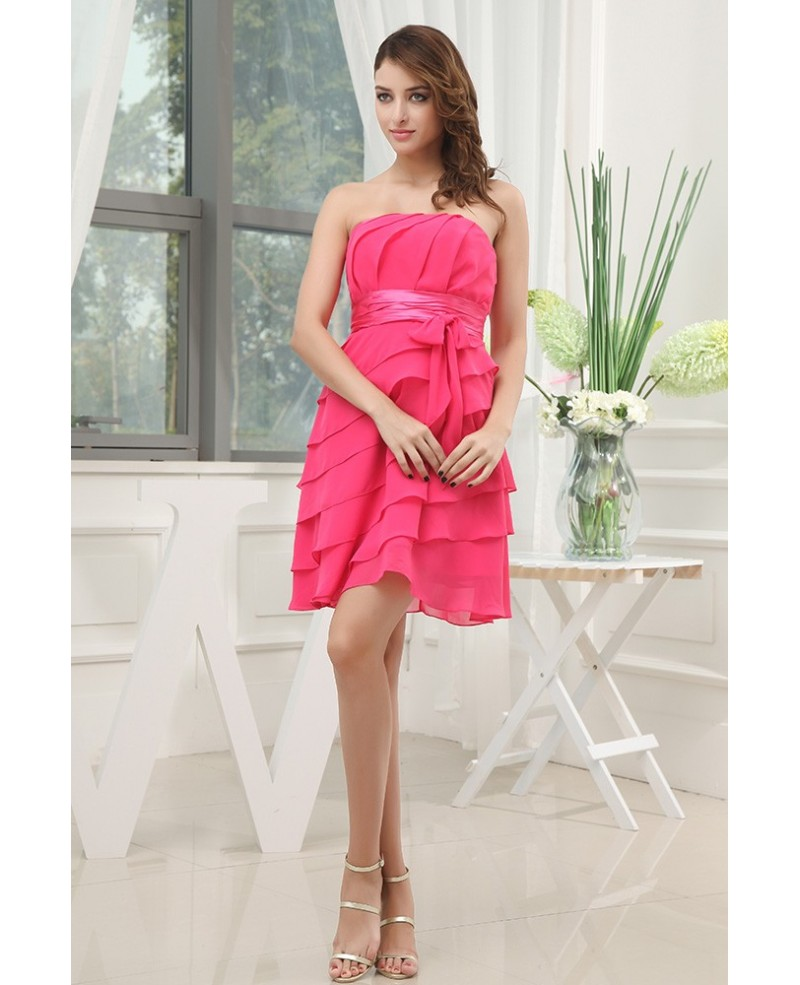 A-line Strapless Short Chiffon Bridesmaid Dress