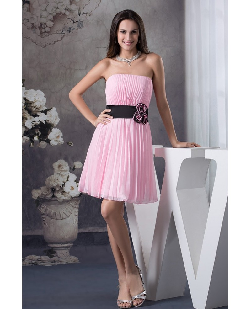 A-line Strapless Short Pink Pleated Prom Dress With Flowers