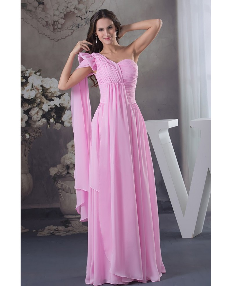 Pink A-line One-shoulder Floor-length Chiffon Evening Prom Dress