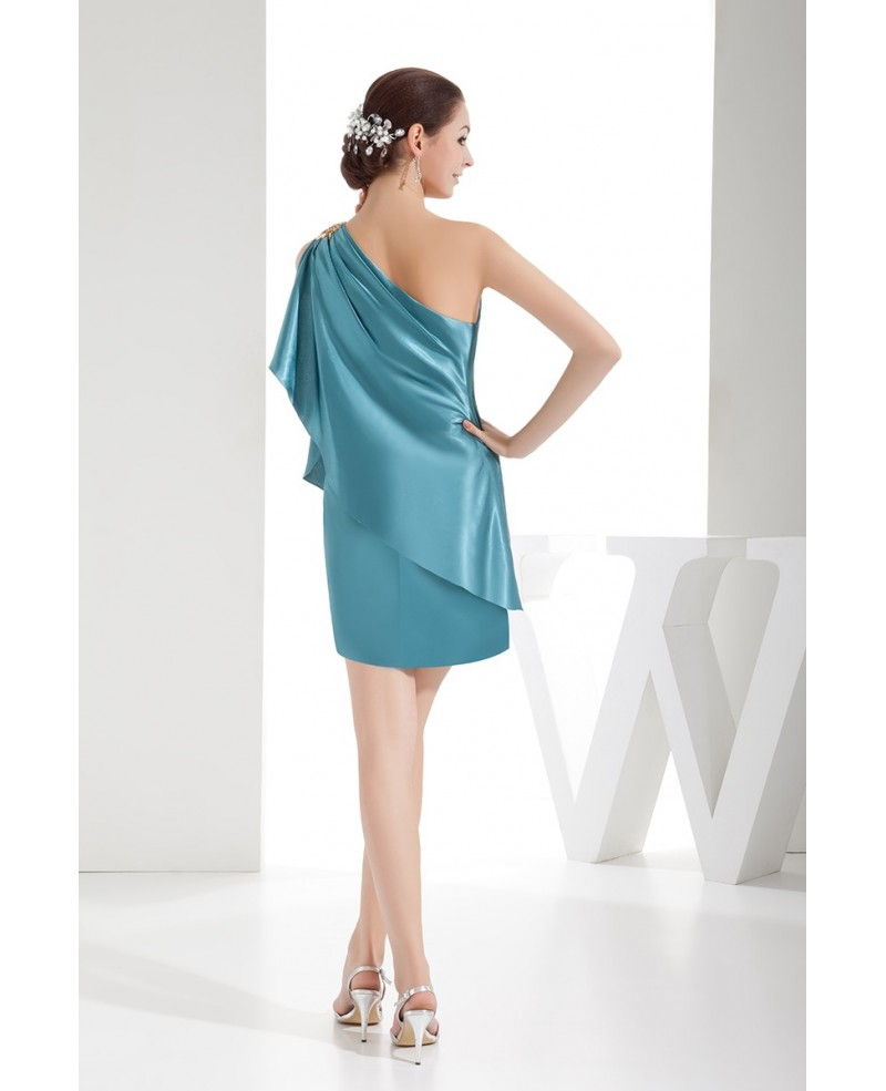 Turquoise Sheath One-shoulder Short Satin Cocktail Prom Dress