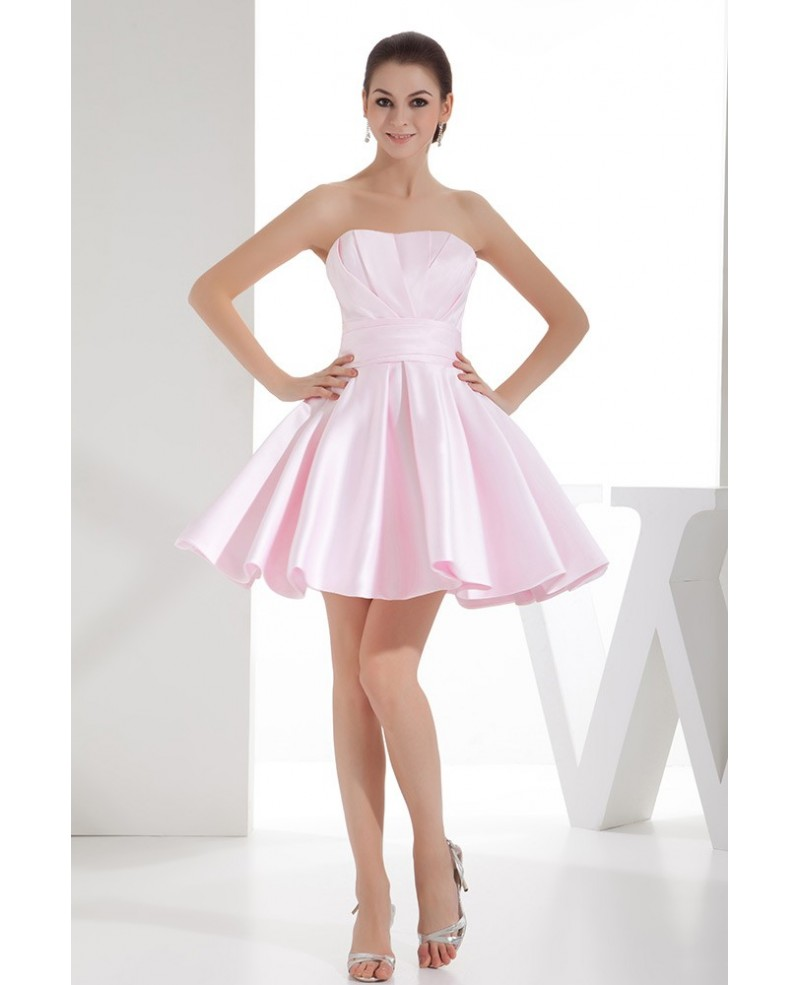 Blush Pink Simple Strapless Short Satin Homecoming Dress