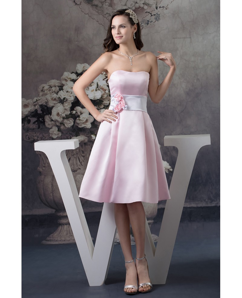 A-line Strapless Knee-length Satin Dress With Flowers