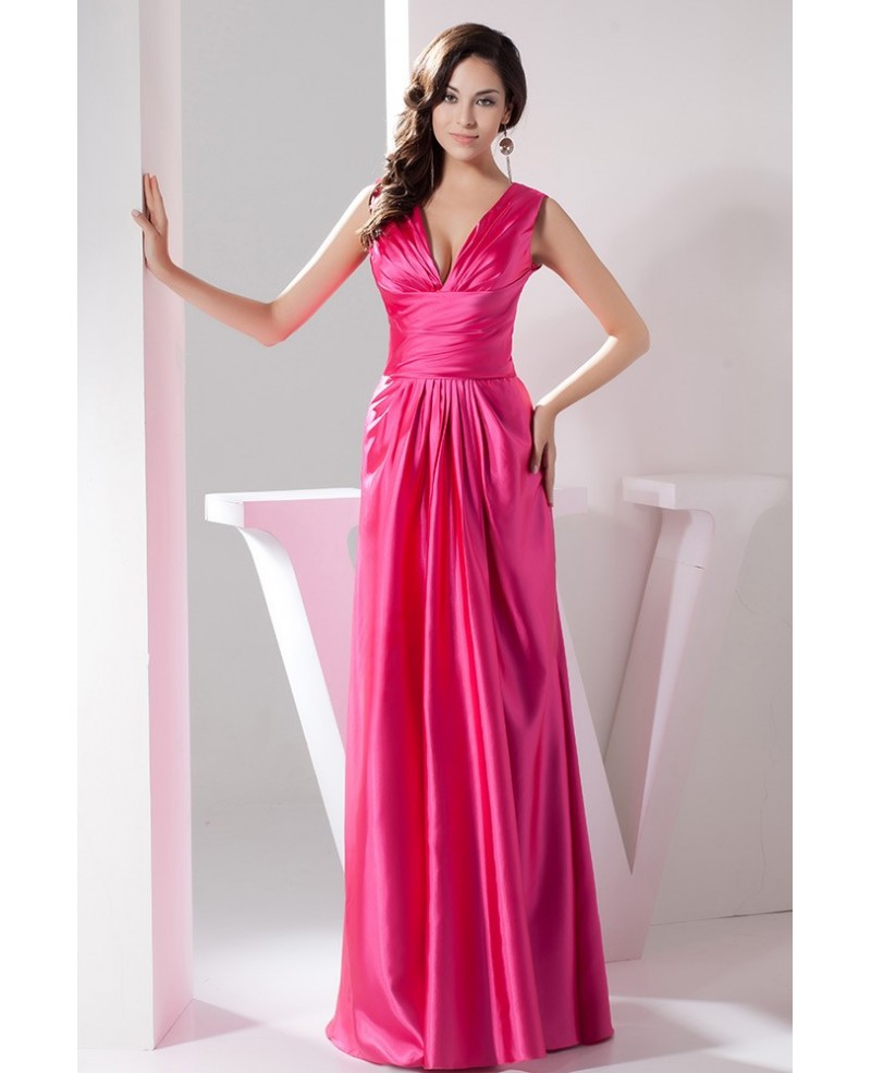 Fuschia Sexy V-neck Floor-length Satin Evening Dress
