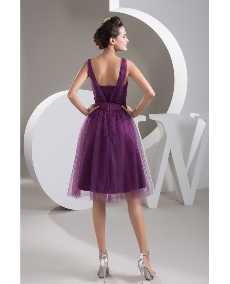 Purple A-line Sweetheart Knee-length Tulle Prom Dress