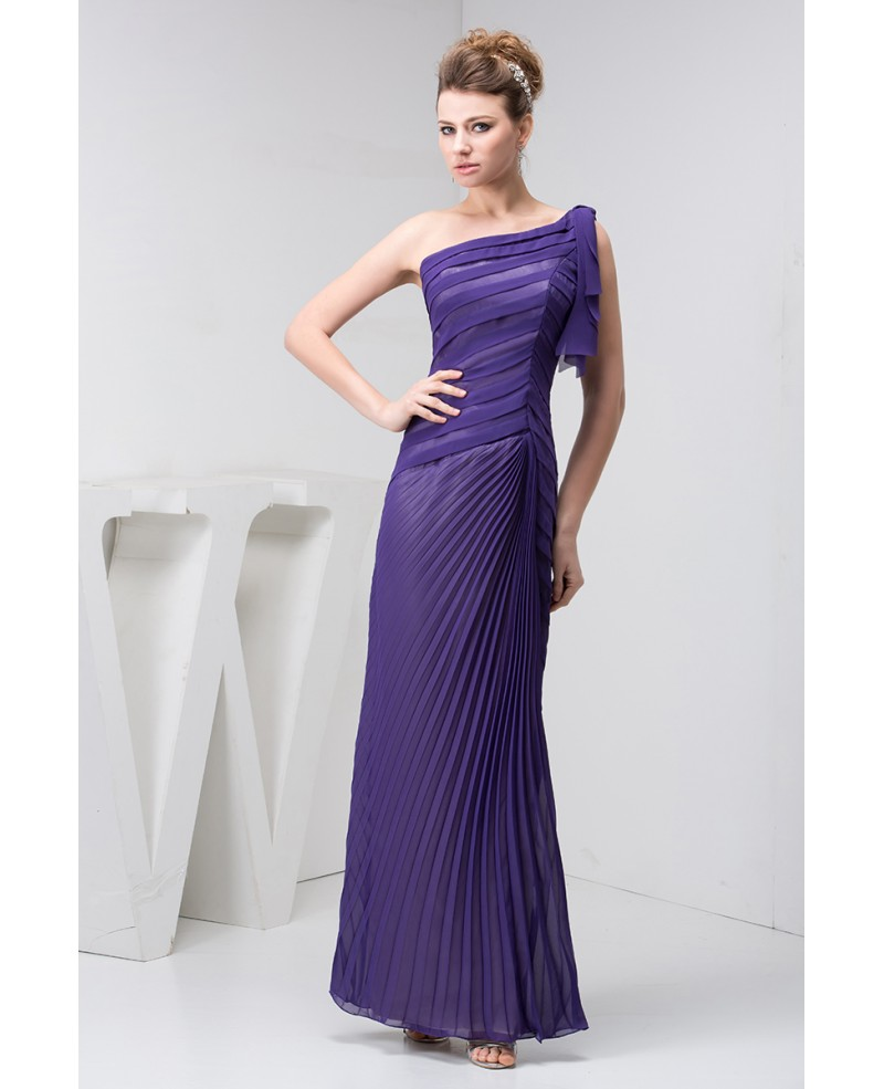 Sheath One-shoulder Ankle-length Chiffon Evening Dress