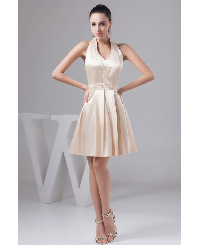 Beautiful Champagne Halter Short Prom Dress With Beading Waist